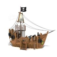 Buy cheap Black Pirate Ship Slide Wooden Outdoor Playset 1000*700*600cm Dimenison product