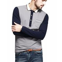 Buy cheap Color Block Ribbed Mens Polo T Shirts With Sleeves Placket Unfunctional Pocket product