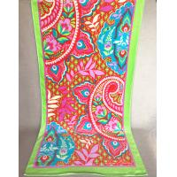 Happiness Symbolized Flower Jacquard Beach Towel With Lime Green Border