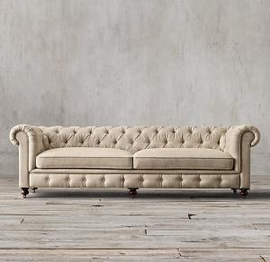 安いチェスターフィールドのソファーのレプリカの一定のビロードの黄色の革はpuの居間3を2 1緩和します