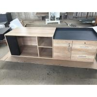 Buy cheap Manager office room use L shape table with compute wooden cabinet adjusted height product