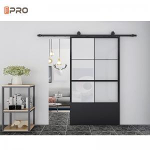 Buy cheap Black Soundproof Indoor Sliding Glass Shower Barn Doors product