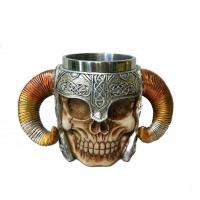 Quality polyresin skull mug 350ml for sale