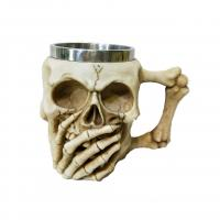 Buy cheap 400ml viking skull polyresin double side stainless steel mug product