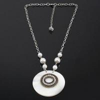 Buy cheap Necklace with Shell Pendent Inlaid Alloy and Chinese Rhinestone, OEM Orders are Welcome product