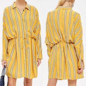 Yellow Stripe Drawstring Ladies Casual Shirt Dress Long Sleeve for Women