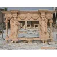 carving man statue stone fireplace