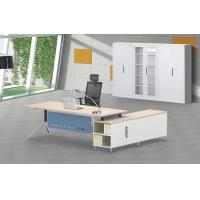 Buy cheap L shape office manager desk special steel leg with wooden top product
