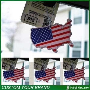 China Black ice 7*9cm USA flag nice cotton car paper air freshener wholesale