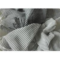 Buy cheap Black And White Striped Polyester Fabric , Garment Curtain Elastic Polyester Fabric product