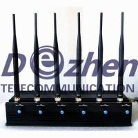China Adjustable 3G 4G Cell Phone Jammer Device With 6 Powerful Antenna 15 Watts on sale