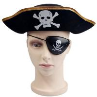 Buy cheap Decorative Black Halloween Pirate Hat , Unique Funky Festival Hats Skull Patterned product