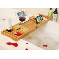 China Bamboo Bathtub Caddy Tray Bathroom Organizer with Expandable Sides Holder for Book Glass Towel on sale