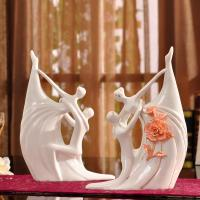 Quality hand-made Bride And Groom ceramic Waltz Dancing couple romantic figurine gift porcelain cake topper for sale