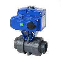China Motorized Actuated True Union PVC Double Union Electric Plastic Ball Valve on sale