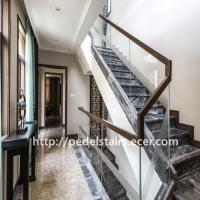 Buy cheap Customized exit steel and wood staircase glass staircase guardrail product