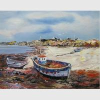 Buy cheap Hand Painted Fishing Boats Oil Paintings, Abstract Canvas Painting on Beach product