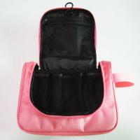 Buy cheap Cute Nylon Hanging Travel Makeup Bag Pink Color For Women Wash product