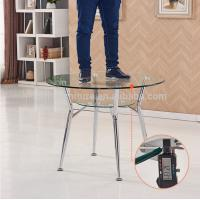 China Transparent Glass Coffee Table Round Shape With Steel / Aluminium Legs on sale