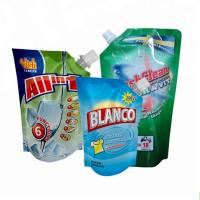 Buy cheap spout pouch packaging Plastic liquid laundry detergent spout pouch washing powder packaging bag product