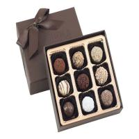 Quality 9 pieces truffle muffin rigid lid ban base box  luxury chocolate paper box for sale