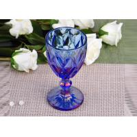 Buy cheap Antique colored glass candle holders Iridescent Blue Stemware Embossed product