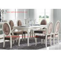 Buy cheap Ivory Neoclassical Dining Room Furniture collection by rubber wood with Glass or Marble table top product