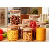 China Large Glass Storage Jars With Wood Lid / High Borosilicate Glass Jars on sale
