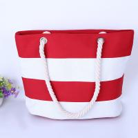 Buy cheap Printed Stripe Cotton Canvas Bags With Two Soft Cotton Rope Handles product