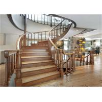 Buy cheap Elegant 38mm Open Wood Stairs , Glass Railing Curved Wooden Staircase No Slip product