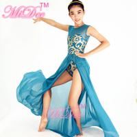 Stretchy Mesh Sleeveless Maxi Dress Lyrical Dance Costumes For Competition