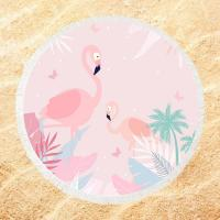 China Roundie Flamingo  Sublimated Beach Towels 250-300GSM Fluffy Exquisite on sale