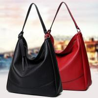 Buy cheap Custom Black Leather Shoulder Handbags Cotton Lining Zinc Alloy Hardware product