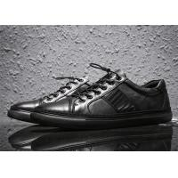 Buy cheap Flat Heel Mens All Black Casual Shoes , Low Cut Full Grain Leather Shoes product