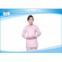White And Pink Stretch Cotton Stylish Scurbs Medical Uniforms For Women