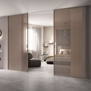 Buy cheap Mesh Glass Entrance Aluminum Sliding Doors Slim Frame 0.7mm Thickness product
