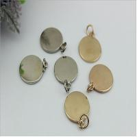 Buy cheap Handbag hardware metal round shape flat logo label tag plate with light gold product