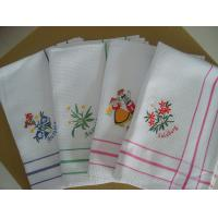 Buy cheap Cute Floral Tea Towels With Embroidered Logo , Custom Printed Tea Towels  product