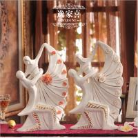 Quality hand-made Bride And Groom ceramic couple romantic figurine gift room decoration Dancing 35cm porcelain cake topper for sale