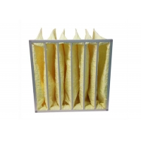 Buy cheap Yellow Water Resistant MERV14 Pocket Air Filters / Bag Air Filter For HVAC Systems product