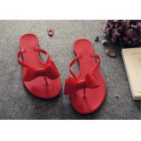 Buy cheap Plastic Upper Fashion Flip Flops With Bowknot Flat Heel Ladies Thong Slippers product