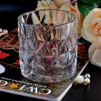 Buy cheap Clear contemporary glass candle holders diamond pattern design Bottom dia 98mm product