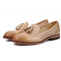 Buy cheap British Style Khaki / Blue Ladies Slip On Brogues , Leather Brogue Shoes With Tassels product
