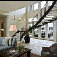 Buy cheap Prefabricated steel curved staircase with tempered glass balustrade product