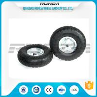 Buy cheap Galvanized Color Pneumatic Rubber Wheels Steel Rim Ball Bearing 55mm Hub 3.50-4 product
