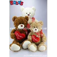 """Quality 12""""Dark Brown Stuffed Toy Plush Cuddly Bear With Red Ribbon And Heart Pillow for sale"""