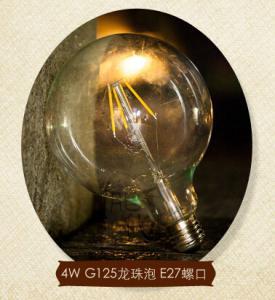 Buy cheap G125 E27 4W Edison COG lamp LED Filament Bulb Light clear cover and aluminum base product