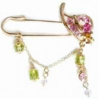Buy cheap Fashionable Brooch, Available with Plastic Beads Decorations, Made of Chemical Fabric and Zinc-alloy product