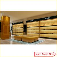 China High end retail wooden man leather  shoe store Displays with light decorated on sale