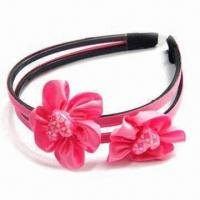 Buy cheap Children's Plastic and Ribbon Headband with Resin, Available in Various of Designs product